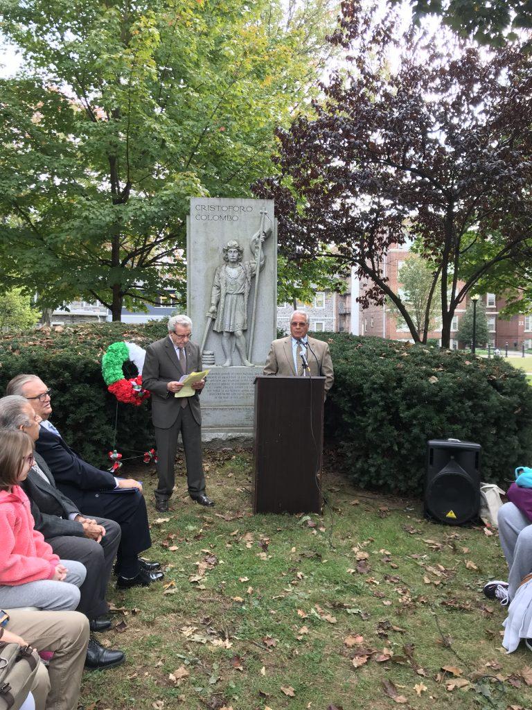 President Michael Sisco speaking on Columbus Day
